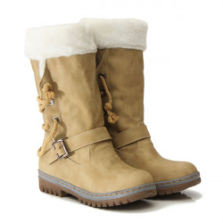 Women Low Heel Flat Fur Snow Mid-Calf Boots Lace Up