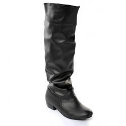 Frauen PU Leder reine Farbe Freizeit Low Heel kniehohe Stiefel