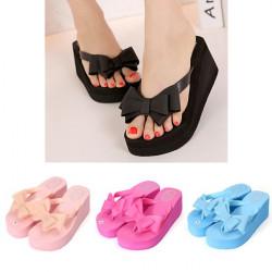 Women Platform Mid Heel Flip Flops Beach Sandals Bowknot Slippers