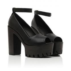 Women Sexy Pump Sandal High Heel Open Toe Velcro Fish Head Shoes