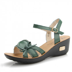 Women Summer Leather  Sandals Open Toe Soft Sole Sandals Wedges