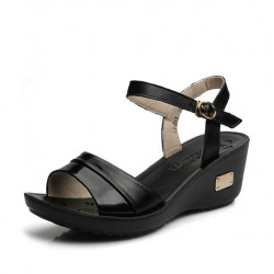 Women Summer Leather Sandals Peep Toe Sandals  Leather Wedges