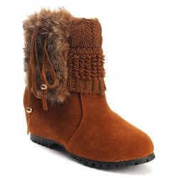 Women Warm Faux Fur Tassel Knit Hidden Wedge Cleated Sole Boots