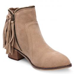Women's Autumn Winter Tassel Faux Suede Ankle Boots Flat Zipper Shoes