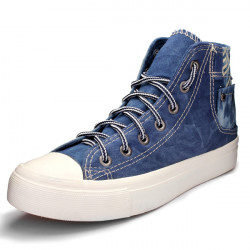 Lässige Lace Up Cowboy Damenschuhe Wshed Denim Schuhe Sneakers