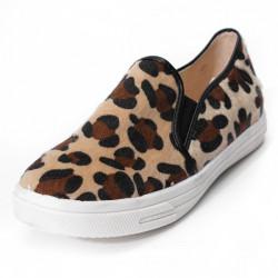 Frauen Leopard beiläufige flache Slipper feste Schuhe Elastic Einzel Schuhe