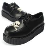 Women's Platform Oxford Shoes Retro Skull Heads Lace-Up Flats Women's Shoes
