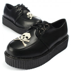 Women's Platform Oxford Shoes Retro Skull Heads Lace-Up Flats