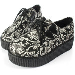 Womens Punk Shoes Vintage Lace-Up Flower Print Creepers Flats Women's Shoes