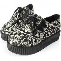 Dame Punk Sko Vintage Lace-Up Blomst Print Creepers Flats