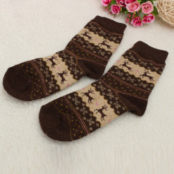 Kvinnor Vinter Christmas Snowflake Deer Design Wool USA Tube Socks