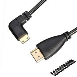 2.5m Venstre Vinkel HDMI Han til Mini HDMI Han Stretch Spring Kabel