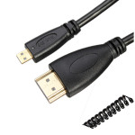 2.5m Stretch Spring HDMI Male to Micro HDMI Male Cable Support 1080P Computer Components