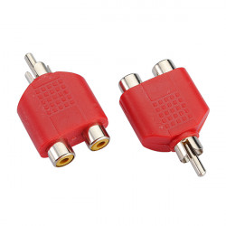 2X RCA AV Audio Splitter Adapter 1 Male to 2 Female Red