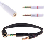 3.5 Mm Audio Mic Y Splitter Kabel Headphone Adapter Hun til 2 Hun Computer Komponenter