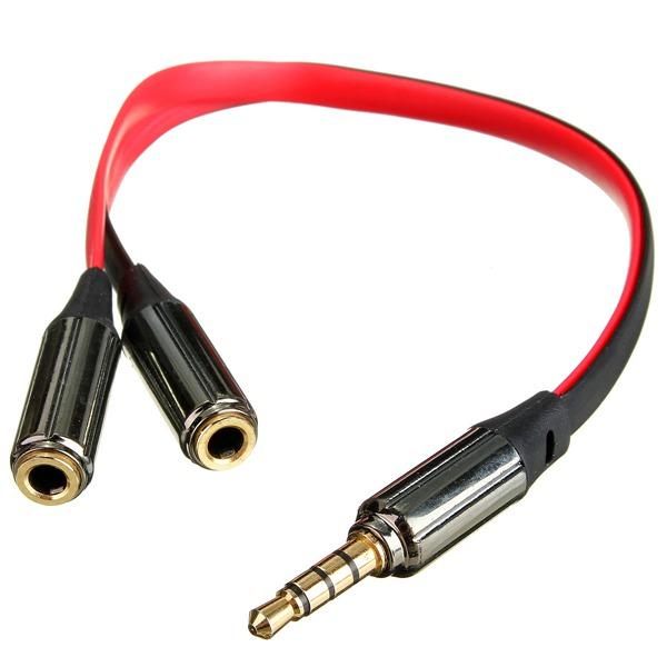 3,5 Mm Hane till 2 Dual Hona Jack Splitter Hörlurar Y-ljudkabel Datorkomponenter