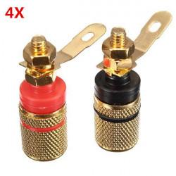 4X2stk Lautsprecheranschlüsse Binding Post Bananenstecker Anschluss Steckverbinder