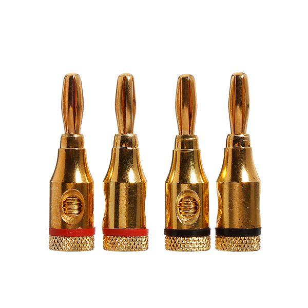 4stk 4mm Lautsprecher Bananenstecker Audio Jack Kabel Stecker Adapter Gold Computer Komponenten