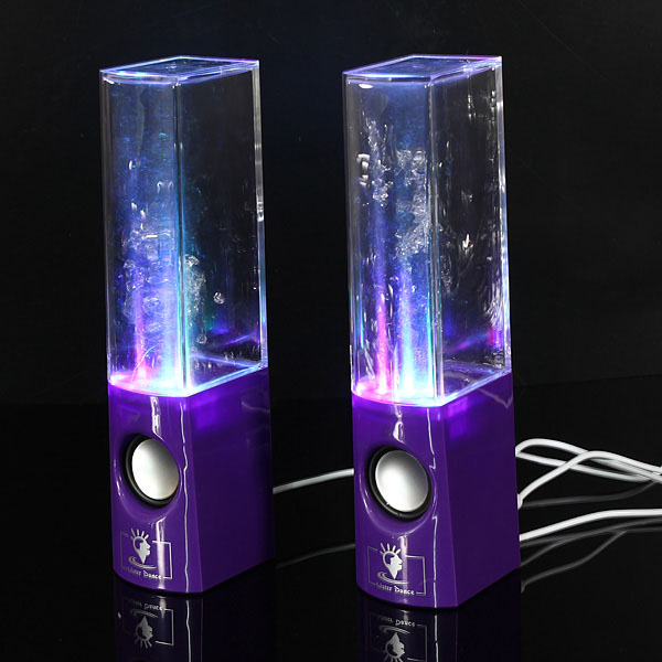 A Pair of LED Water Dancing Speakers with 3.5mm Plug Computer Speakers