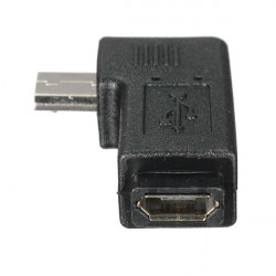 Left Angle Micro USB Male to Micro Female Connector Adapter