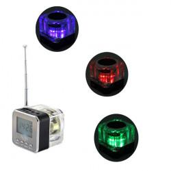 Mini Bärbar LCD Micro SD TF Spelare Högtalare FM-radio USB