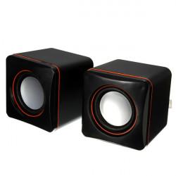 USB Mini Square Audio 2 Channel Multimedia Speaker Black