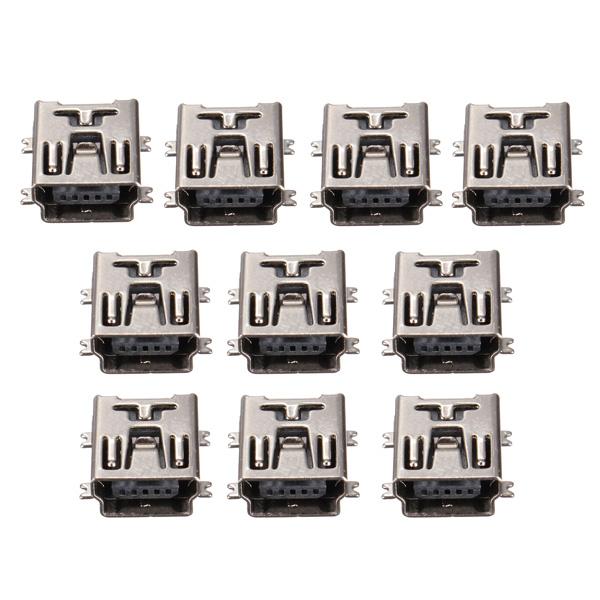 10 Mini USB typ B SMD Kvinna Socket 5 Pin Jack Connector Port