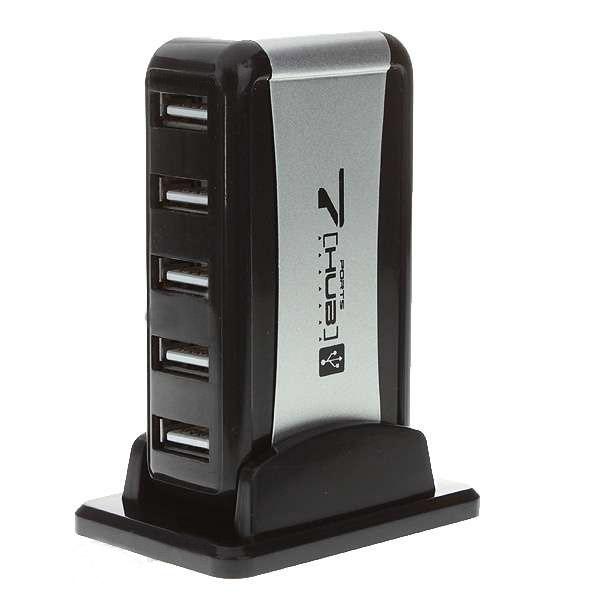 7-Portar USB 2.0-Hubb med 2.0A 110 ~ 240V AC-adapter (Uppgraderad Version) Laptop Tillbehör
