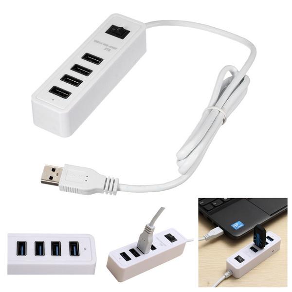High Speed 4-Portars USB 3.0-Hubb Splitter Adapter för Desktop PC Laptop Laptop Tillbehör