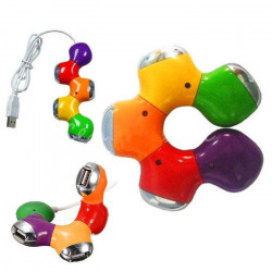 Lovely Colorful Flexible 4-port High Speed USB 2.0 Hub for PC
