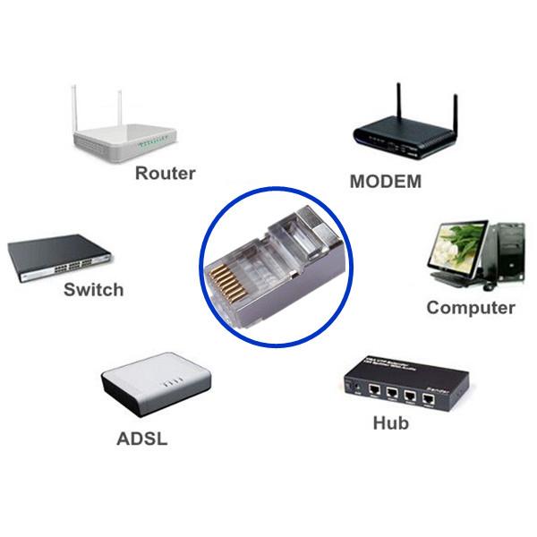 20 Pcs JR45 8 Pin Cat5e Metal Shielded Anti-interference Ethernet Plug Networking