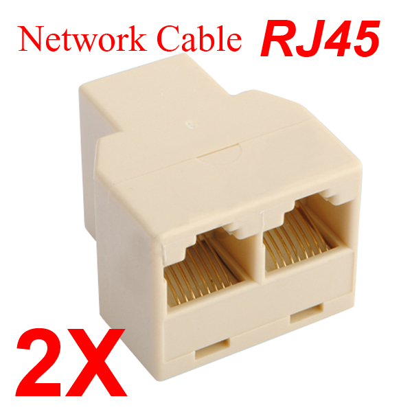 2 X New RJ45 CAT 5 6 LAN Ethernet Splitter Connector Adapter PC Networking
