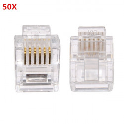 50PCS RJ12 Modular Cable Head Plug Ethernet Plated Network Connector