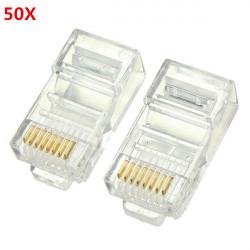 50stk RJ45 Stecker Ethernet Gold überzogene Netzwerkanschluss