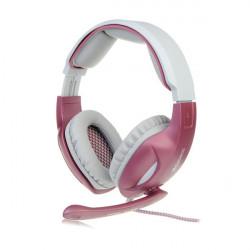 Sades SA 902 Rosa Stereospiel Kopfhörer mit Mikrofon LED Leuchten