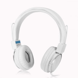 White Adjustable Over-Ear Headphone 3.5mm with Mic