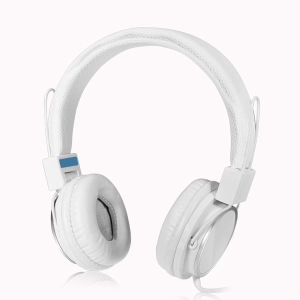 Hvid Justerbar Over-Ear Headphone 3.5 med Mic Mikrofoner & Hovedtelefoner