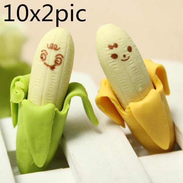 20 Psc Novelty Lovely Stationær Banana Fruit Rubber Pencil Eraser Kontor & Skoleartikler