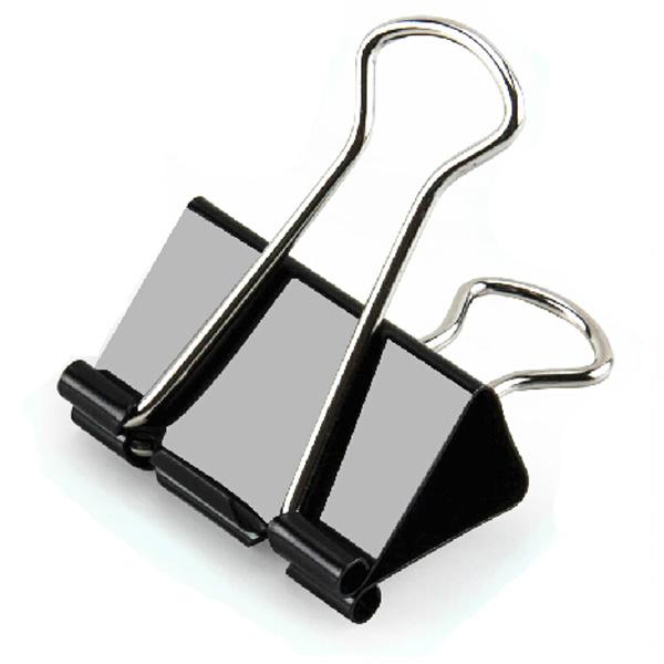 24stk 41mm Metal Papir Clip Sort Binder Clip Brev Holder Kontor & Skoleartikler