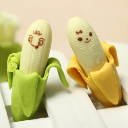 2 psc Novelty Lovely Stationary Banana Fruit Rubber Pencil Eraser