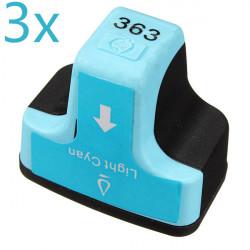 3 X Ljus Cyan 363 Bläckpatroner för HP Smart C5180 C6180 Smart C7180 Skrivare