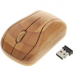 800DPI Optical Mouse Unique Bamboo Wireless Mouse With USB Receiver