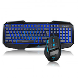 AULA BEFIRE Blue Backlit and KILLING THE SOUL Keyboard Mouse Set