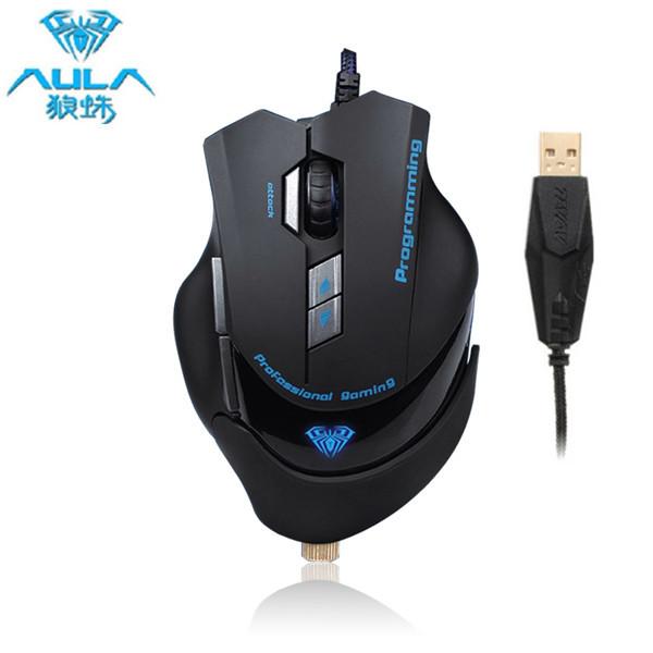 AULA Kejser Hate 2000dpi Gaming Kabling Mus med 6 Farve Skiftende LED Tastaturer & Mus