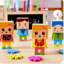 Cartoon Diy  Double Hole Pencil Sharpener With Eraser Random