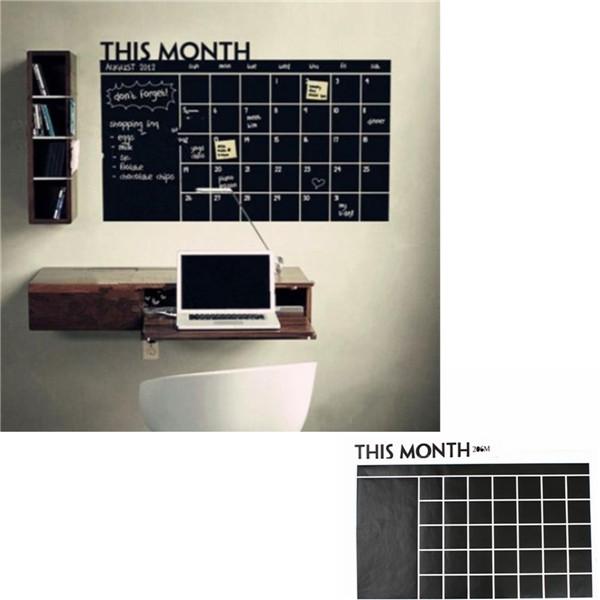 Svarta Tavlan Avtagbar Vinyl Väggklistermärke Dekor Månaders Plan Kalender DIY Kontor & Skolmaterial