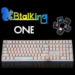 Kirsche Weiß KBT KBTalking ONE 108 mit Hintergrundbeleuchtung Mechanical Gaming Keyboard