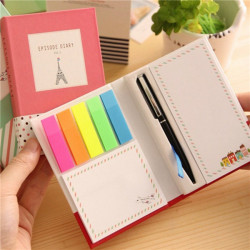 Colorful Sticky Portable Post-It Notes With A Pen Color Random