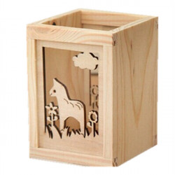 Creative Learning Stationery Horse Carved Hollow Wood Pen Holder