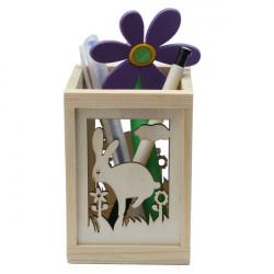 Creative Learning Brev Rabbit Ristade Hollow Wood Pennhållare